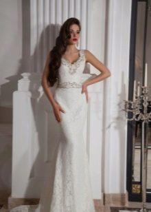 Свадебное платье русалка с расшитым поясом