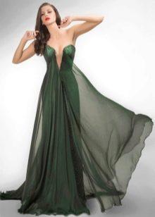 Зеленое сексуальное вечернее платье с глубоким декольте