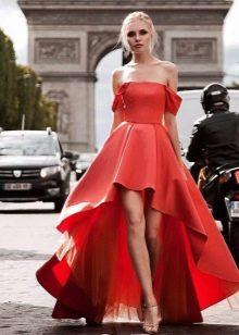 Короткое спереди длинное сзади вечернее платье