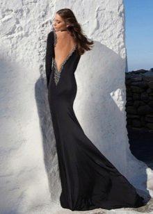Вечернее черное сексуальное платье с глубоким вырезом на спине