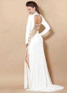 Вечернее сексуальное платье с вырезом на спине и шнуровкой