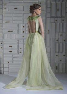 Сексуальное вечернее платье с открытой спиной а-силуэта