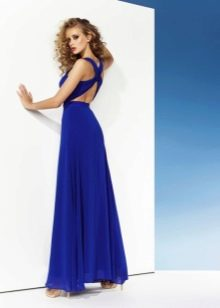 Сексуальное вечернее платье с открытой спиной синее
