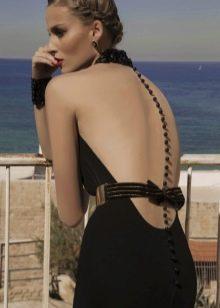 Сексуальное вечернее платье с иллюзией открытой спины