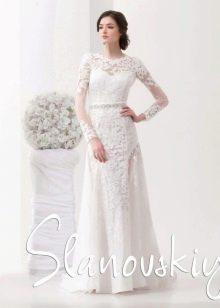 Свадебное кружевное платье от Слановски прямое