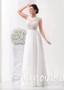 Свадебное платье с кружевным верхом от Слановски