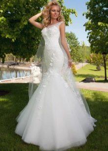 Свадебное платье русалка от Оксаны Мухи с объемными цветами