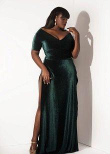 Длинное бархатное платья больших размеров