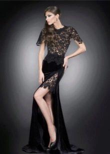 Платье с бархатом и кружевом
