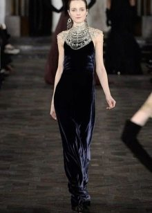 Бархатное синее платье от Ральфа Лорена