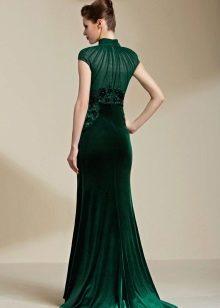 Зеленое бархатное платье с шифоном