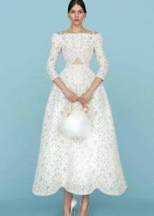 Кружевное свадебное платье белое миди