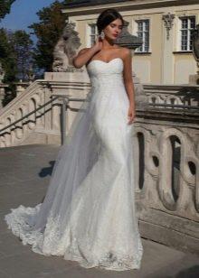 Белое свадебное платье русалка с кружевом