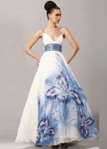 Белое свадебное платье с синим узором