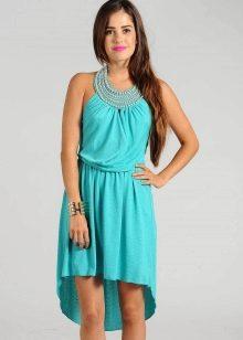 Платье бирюзового цвета длины миди