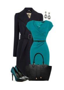 Бирюзовое платье с черными аксессуарами