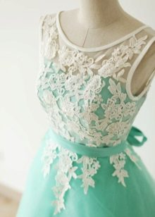 Бирюзовое платье с белым