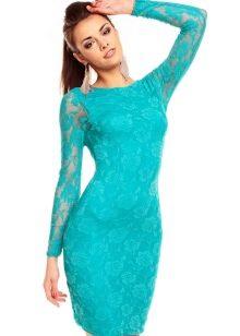 Бюрюзовое платье с рукавами