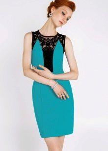 Бирюзовое платье с черным