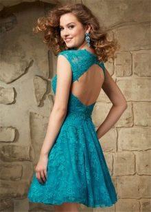 Кружевное бирюзовое платье