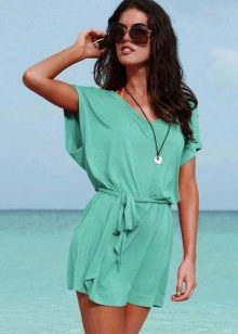 Платье-туника бирюзового цвета