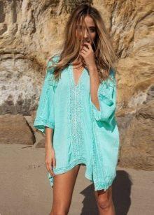 Бирюзовое платье-туника