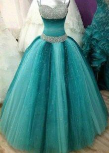 Пышное бирюзовое платье