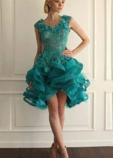 Пышное короткое кружевное платье бирюзового цвета