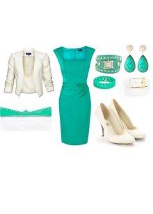 Белые аксессуары к платью бирюзового цвета