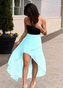 Черно-бирюзовое платье