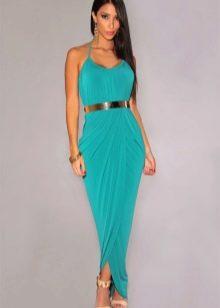 Бирюзовое длинное летнее платье