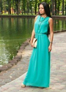 Летнее длинное бирюзовое платье