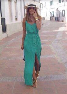 Длинное повседневное бирюзовое платье