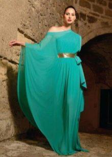 Вечернее длинное бирюзовое платье