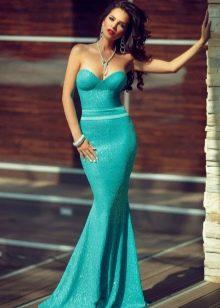 Вечернее длинное блестящее бирюзовое платье