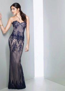 Синее вечернее кружевное платье
