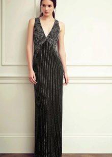Прямое вечернее платье с серебряной нитью