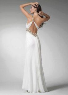 Вечернее платье с открытой спиной белое