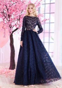 Кружевное синее платье вечернее