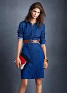 Платье рубашка с коротким рукавом из джинса