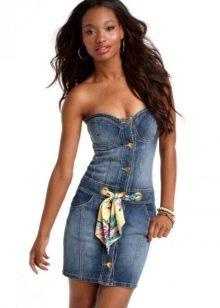 Облегающее джинсовое платье