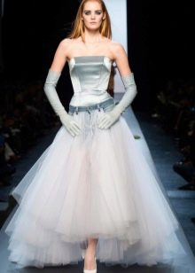 Свадебное джинсовое платье пышное
