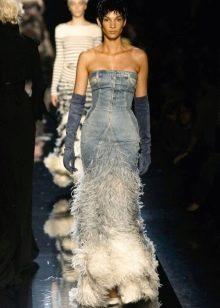 Свадебное джинсовое платье с бахрамой