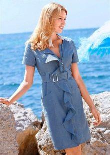 Летнее платье из джинса со стразами
