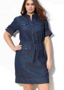 Короткое платье из джинса для полных