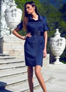Платье рубашка с коротким рукавом