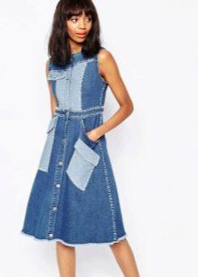Двухцветное джинсовое платье