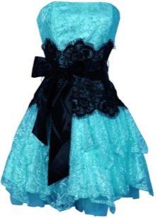 Черно-голубое платье