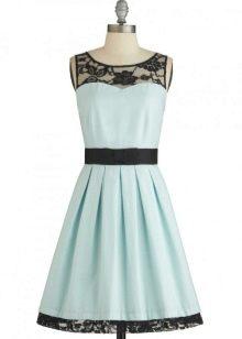 Голубо-черное платье