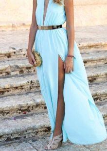 Бирюзово-голубое платье